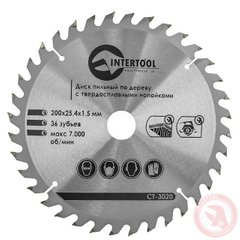 Intertool 230x22.2х1,6 круг по дереву с твердоспайною напайкой (ст - 3044), 230мм, Для дерева